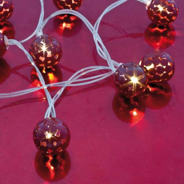 LED-Minilichterkette, Metallkugeln, rot, L 90cm, 10 warmweiße LEDs, batteriebetrieben