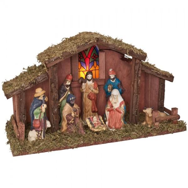 Weihnachtskrippe mit Figuren, B 39cm, H 22cm, T 14,5cm, batteriebetrieben