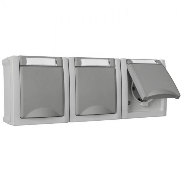 Panasonic® - AP/FR - PACIFIC - grau/dunkelgrau - Steckdose, 3-fach, waagerecht