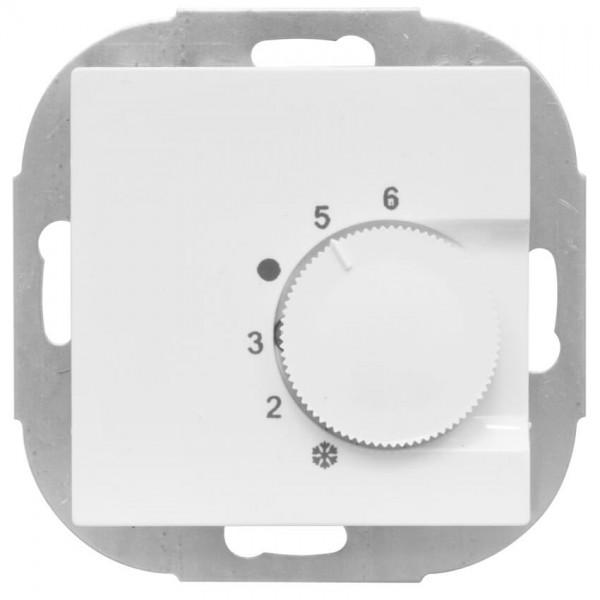 KLEIN® - Kombi-Raumthermostat, Wechsler, 10A (4A), +5° bis +30°, Zentralplatte 55 x 55 mm, reinweiß