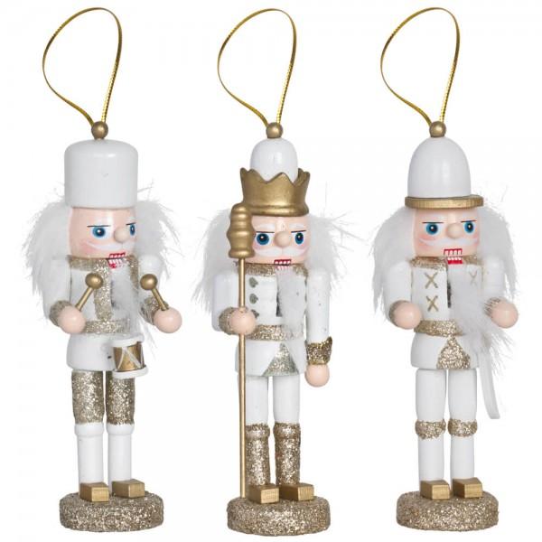 Mininussknacker,weiß-gold, H 13cm, 3er-Set