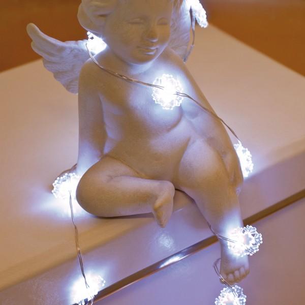 LED-Minilichterkette 1m, klare Schneeflocken, 20 weiße LEDs, batteriebetrieben