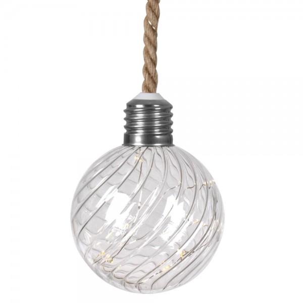 LED-Glaskugel, Ø 12cm, gestreiftes Glas, 15 warmweiße LEDs