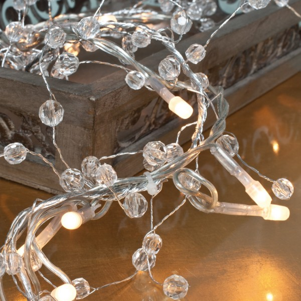 LED-Minilichterkette 1m, Perlen, 20 warmweiße LEDs, batteriebetrieben