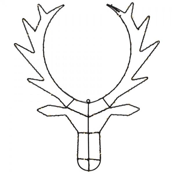 LED-Rentierkopf, CUPID, H 50cm, B 42cm, 50 warmweiße LEDs