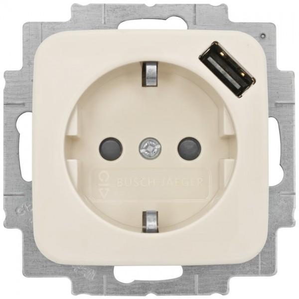 BUSCH-JAEGER® - DURO 2000 SI® - Kombi-Steckdose, 1 x USB-Ausgang 5V/max. 0,7A, cremeweiß
