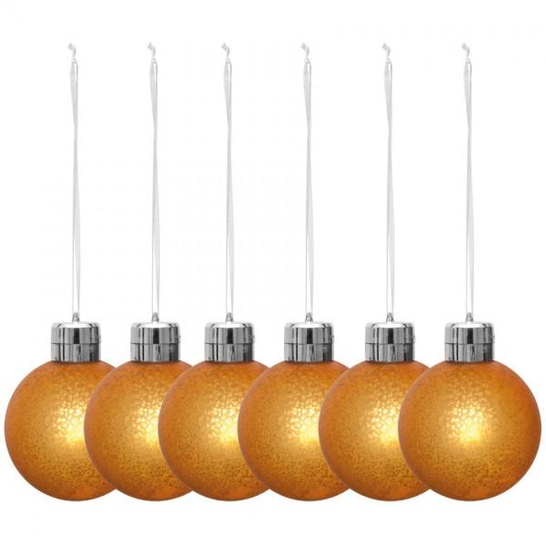 6 x LED-Weihnachtsbaumkugeln,Ø 8,5cm, orange-gold, je 1 warmweiße LED, batteriebetrieben