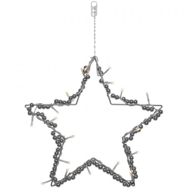 LED-Fensterbild Stern, 20 warmweiße LEDs, Ø 32cm, batteriebetrieben