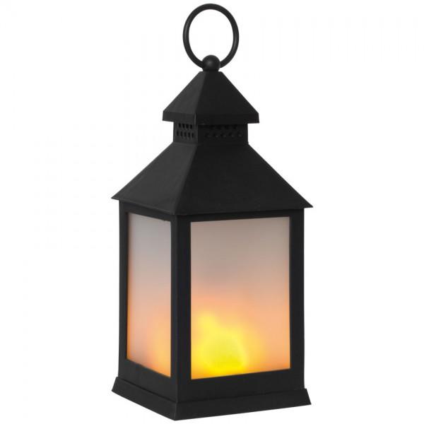 Laterne, H 33cm, B 10cm, orange flackernde LEDs
