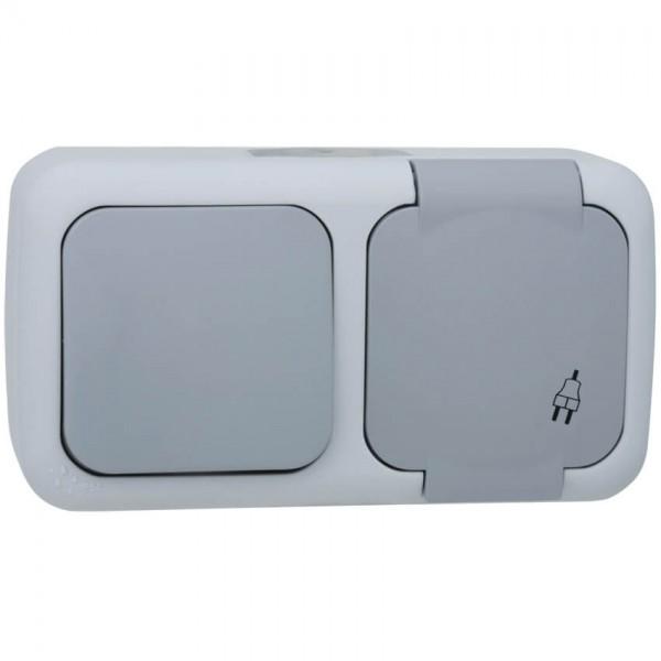 Panasonic® - AP/FR - PALMIYE - grau/dunkelgrau - Wechsel-Schalter/Steckdose, waagerecht