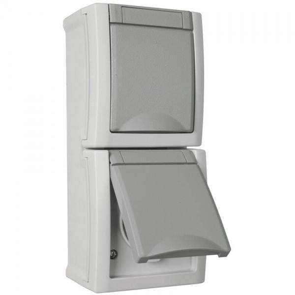 Panasonic® - AP/FR - PACIFIC - grau/dunkelgrau - Steckdose, 2-fach, senkrecht
