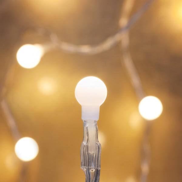 LED-Minilichterkette, 10 warmweiße LEDs, weiße Kugeln, 90cm