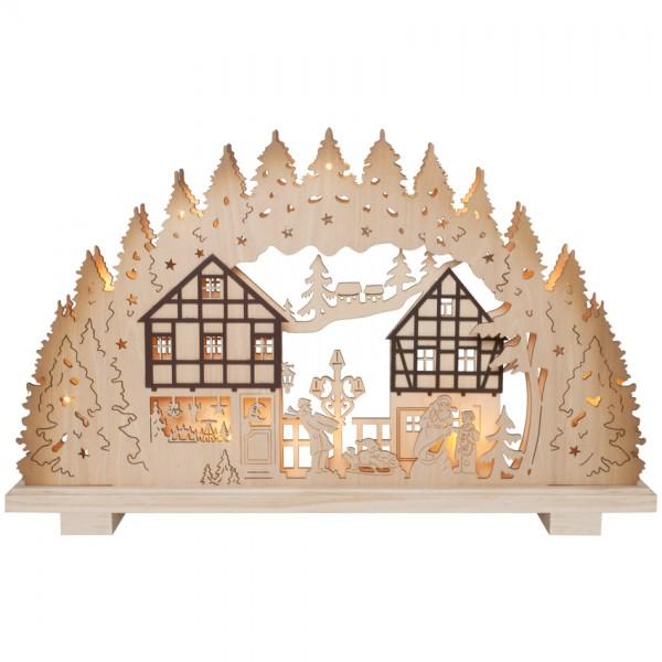 Weihnachtsleuchter, Holz, 10 Minilichter