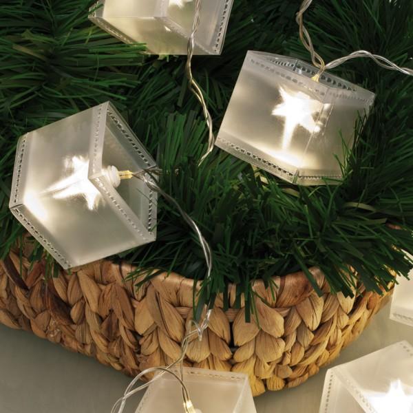 LED-Minilichterkette, L 150cm, Holografiequadrate, 10 warmweiße LEDs