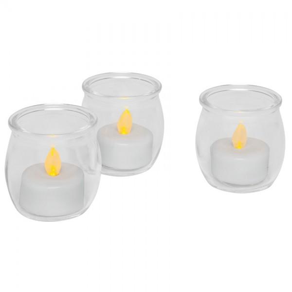 LED-Teelichter, Ø 5cm, H 5,5cm, 3er-Set, je 1 LED