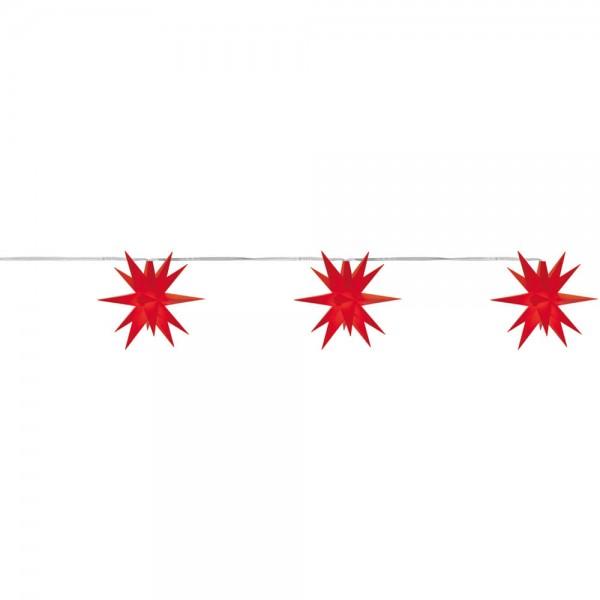 LED-Stern, rot, 3er-Kette, je 1 warmweiße LED, mit Batteriebox, Ø 8cm