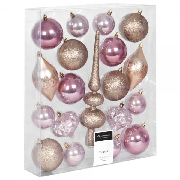 Weihnachtsbaumkugeln, gold, 19er-Set