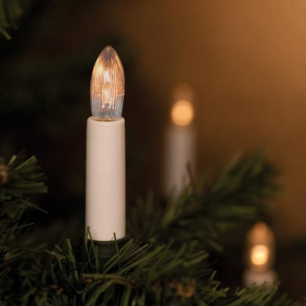 Weihnachtsbaumkette, L 12m, 25 x E10/10V/2,4W, klar/weiß, 7cm Kerzen