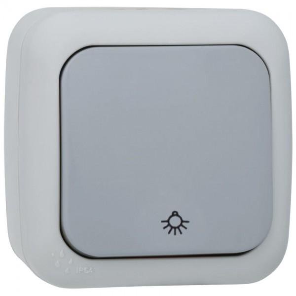 """Panasonic® - AP/FR - PALMIYE - grau/dunkelgrau - Taster, Schließer, mit Symbol """"Licht"""""""