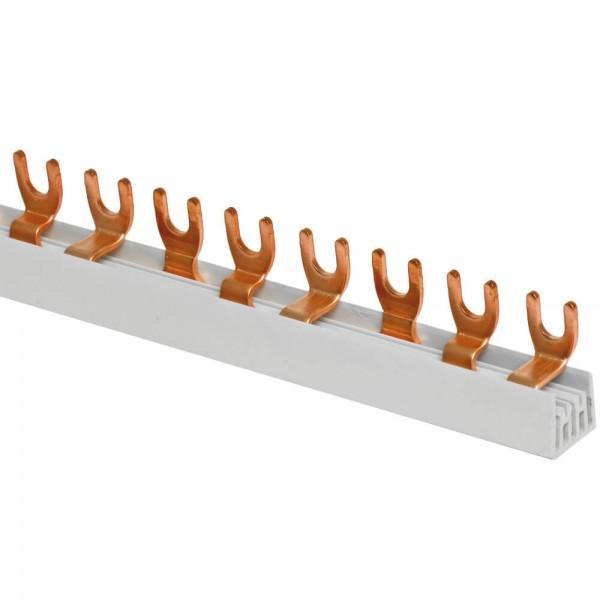 Gabel-Phasenschiene, 10 mm Ø, 3-polig, L-Form, für 12 LS-Schalter