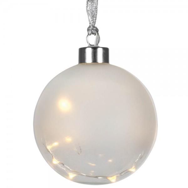 Glaskugel, GLOW, Ø 10cm, 15 warmweiße LEDs, batteriebetrieben