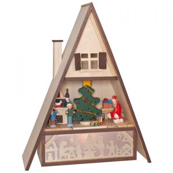 beleuchtetes Räucherhaus, H 46cm, B 36cm, T 13cm, 1 x E14/15W